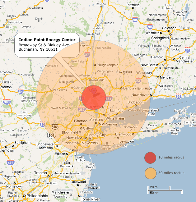 Proximity of Indian Point Nuclear Power Plant to New York City