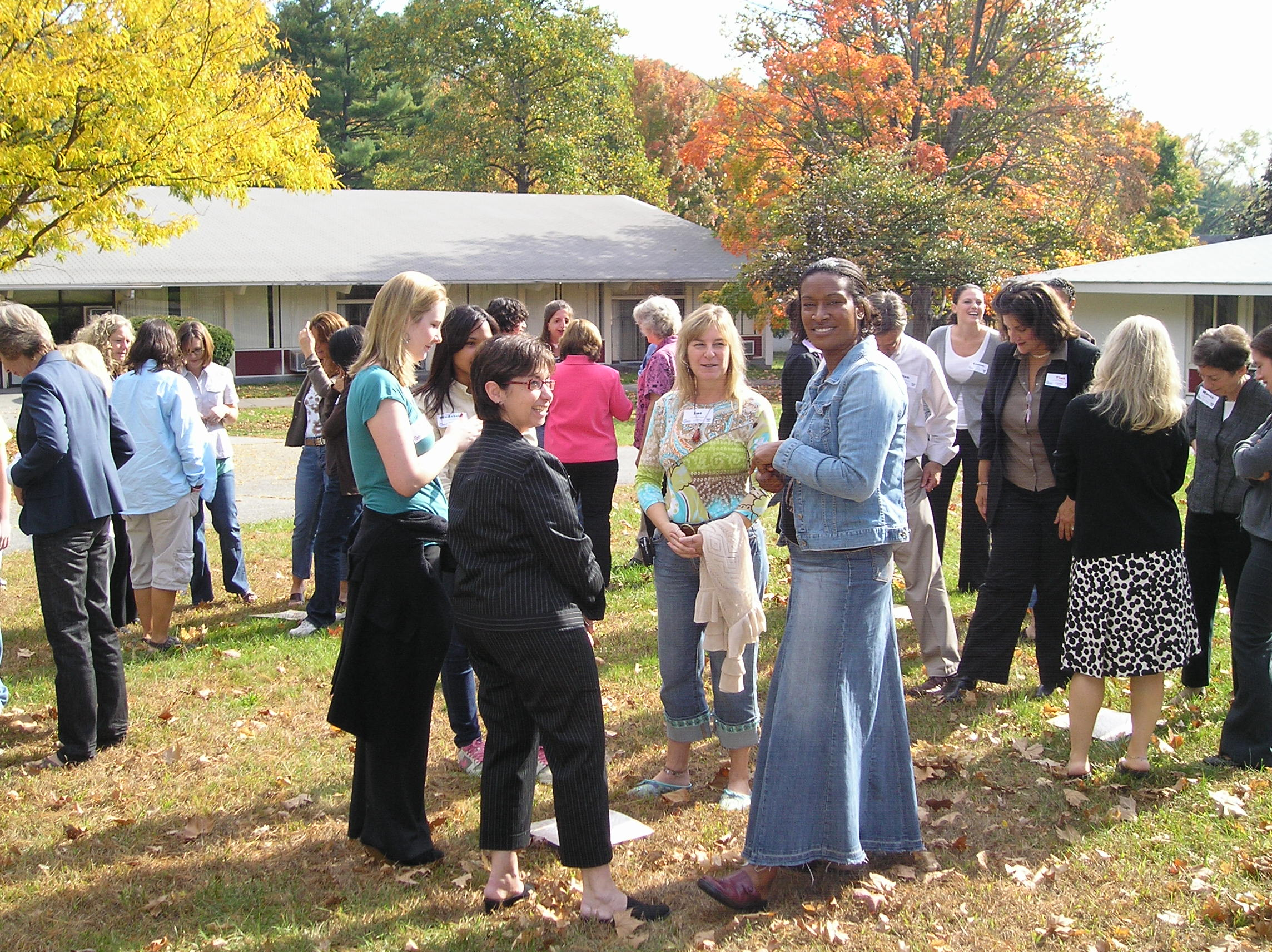 People enjoying a fall day at Stony Point Center