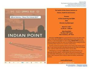 March 27th: Indian Point Screening at Columbia University